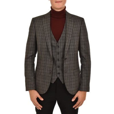 Vittorio Blazer & Vest Private Set Checked-Grey