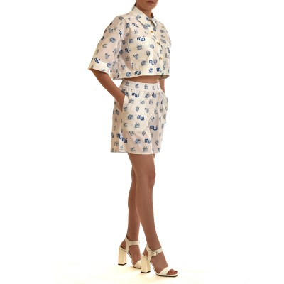 Milkwhite Shorts Patterned-White/Blue