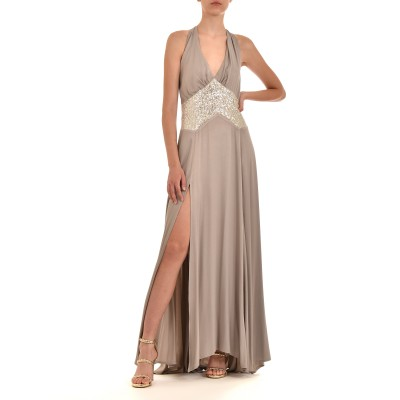 J'aime Les Garcons Dress Maxi Sequins-Silver