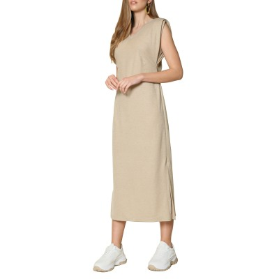 Innocent Dress With Shoulder Pads-Beige