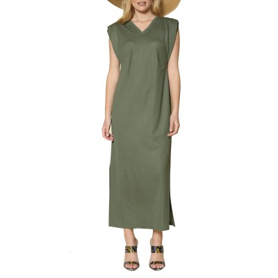 Innocent Dress With Shoulder Pads-Khaki