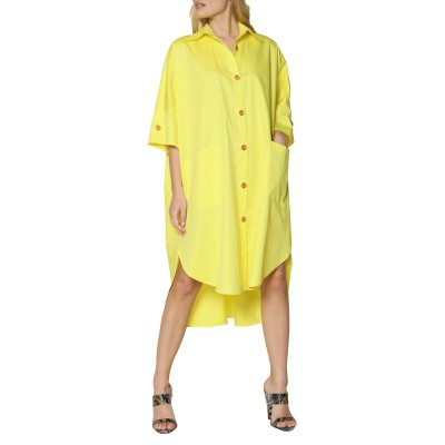 Innocent Shirt Dress-Yellow