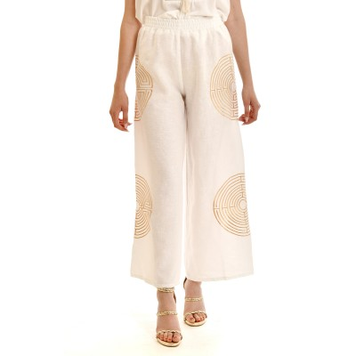 Kori Crop Trousers With Gold Embroidery Thread Labyrinth-White/Gold