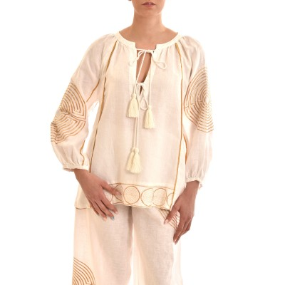 Kori Blouse With Chest Tassels & Gold Embroidery Labyrinth-White-Gold