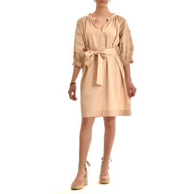 Milla Dress Nervir Sleeves-Beige