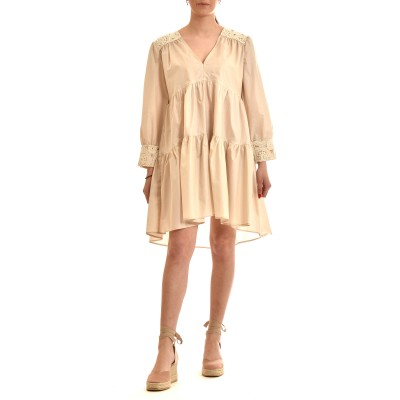 Milla Dress Short With Knitted Lace-Beige