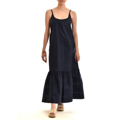 Milla Dress Maxi Nervir With Open Back-Dark Blue