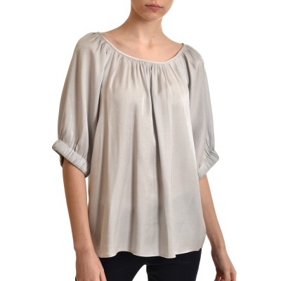Milla Blouse Satin With Elastic Cuffs-Silver