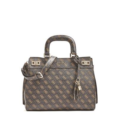 Guess Handbag Katey 4G Logo Shoulder Strap-Brown Multi