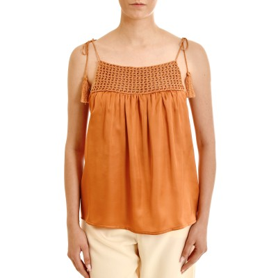 Aggel Cropped Top Satin With Handmade Knitted Details-Peach