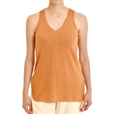 Aggel Top Basic Sleeveless Lurex V-Neck-Peach