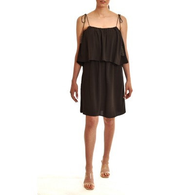 Aggel Dress Short Marocaine Crepe Grecian With Knitted Detail-Dark Grey