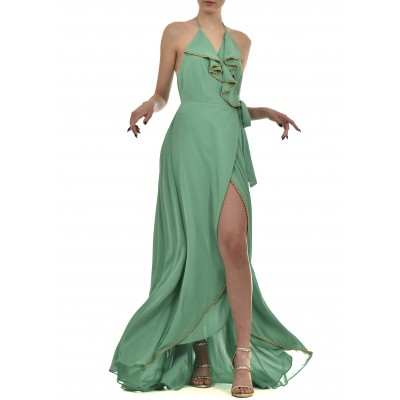 Twins Fantasy Dress Slit & Waist Bow-Green