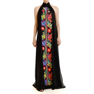 Twins Fantasy Dress Maxi Lace With Embroidery Pattern-Black