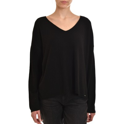 Aggel Sweater V-Neck Cashmere Blend-Black