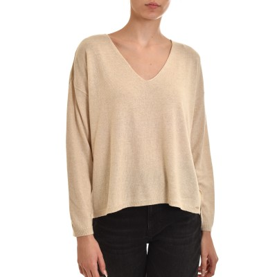 Aggel Sweater V-Neck Cashmere Blend-Beige