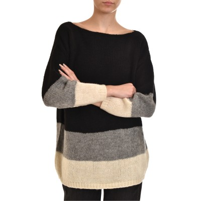 Aggel Sweater Relaxed Striped Mohair Blend-Black
