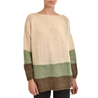 Aggel Sweater Relaxed Striped Mohair Blend-Ivory