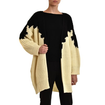 Aggel Knitted Cardigan Two Tone Wool Blend-Black/White