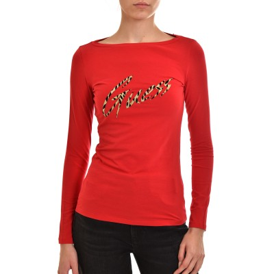 Guess Blouse Norah Glitter Logo-Red