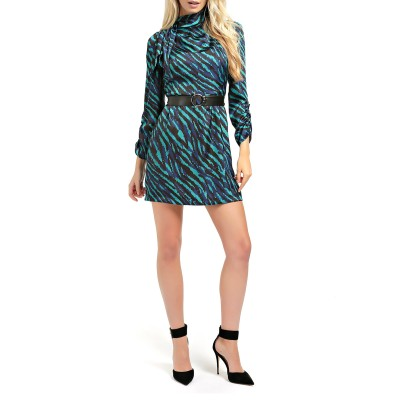 Guess Dress Chiara Belted Animal Print-Tirquoise