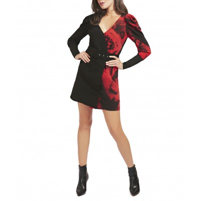 Guess Dress Print Brisilda Belted Placed-Black/Red
