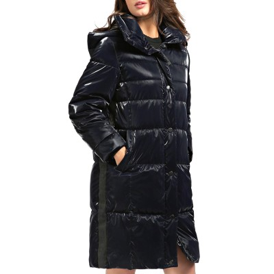 Guess Padded Jacket Long Regina With Hood-Blue