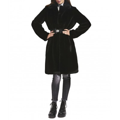 Guess Coat Faux Fur Belted-Black