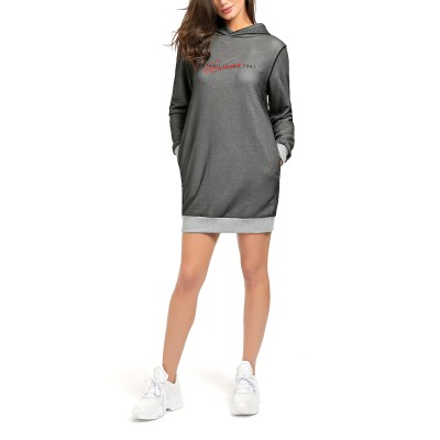 Guess Sweat Dress Sharlize Hooded Front Logo-Grey Multi
