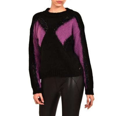 Aggel Sweater Mohair-Black/Purple