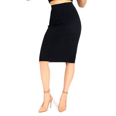 Guess Skirt Rib Sweater-Black