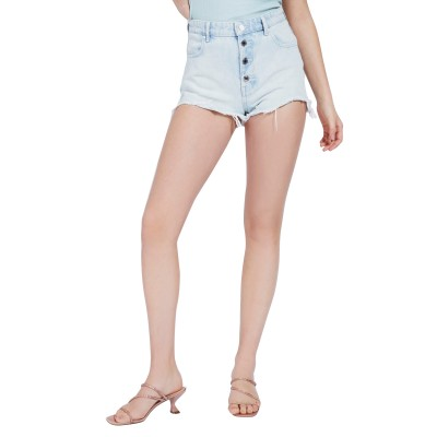 Guess Shorts Denim Alexia Exposed Buttons-Light Blue