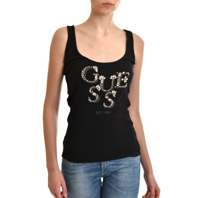 Guess Top Rib Logo With Setting Stones-Black
