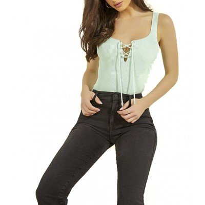 Guess Top Tie Annis Rib Tank Sweater-Green Multi