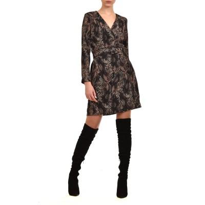 Innocent Dress Snake Print With Belt-Brown