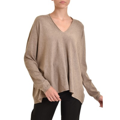 Innocent Knitted Blouse V-Neck Dropped Shoulders-Puro