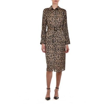 Innocent Dress Semizie Satin Animal Print-Beige/Black