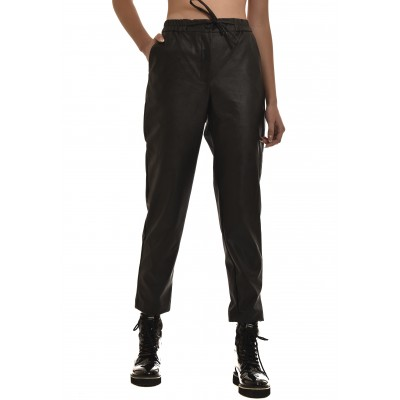 Innocent Trousers Jogging Faux Leather-Black