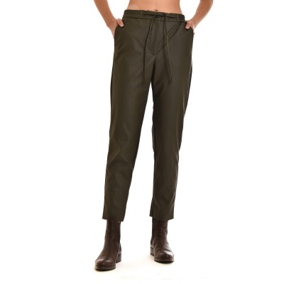 Innocent Trousers Jogging Faux Leather-Chaki
