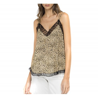 Replay Top Viscose Cami With Animalier Print-Beige/Black
