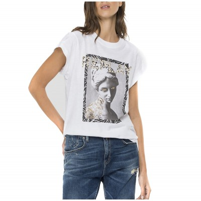 Replay T-Shirt With Glitter Print-Optical White