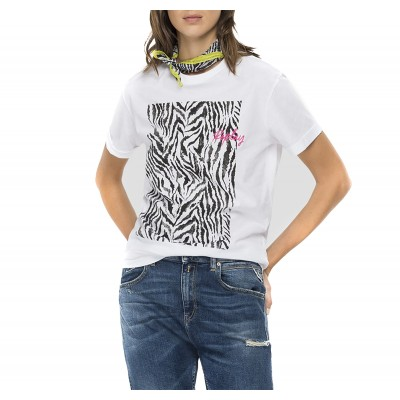 Replay T-Shirt Crewneck Zebra-Striped-White
