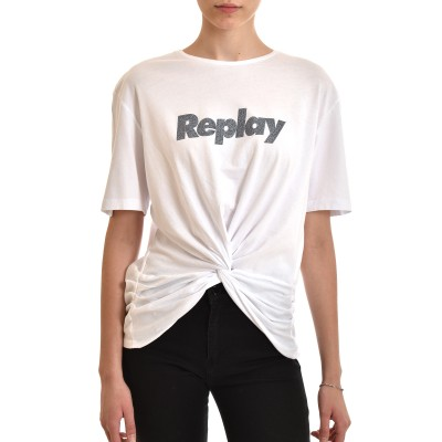 Replay T-Shirt With Bow & Glitter Print-White