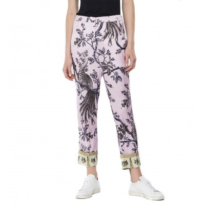 Replay Trousers Strech Viscose With All-Over Print-Pink/Coffe/Mustard