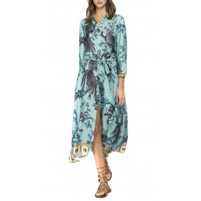 Replay Dress Viscose With All-Over Print-Water Green/Coffee/Mustard