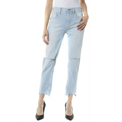 Replay Jeans Maijke Rose Label Straight Crop High Rise-Light Blue