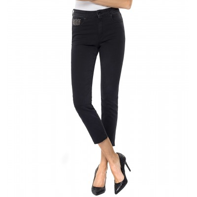 Replay Jeans Slim Fit Cigarette Crop Faaby High Rise-Dark Grey