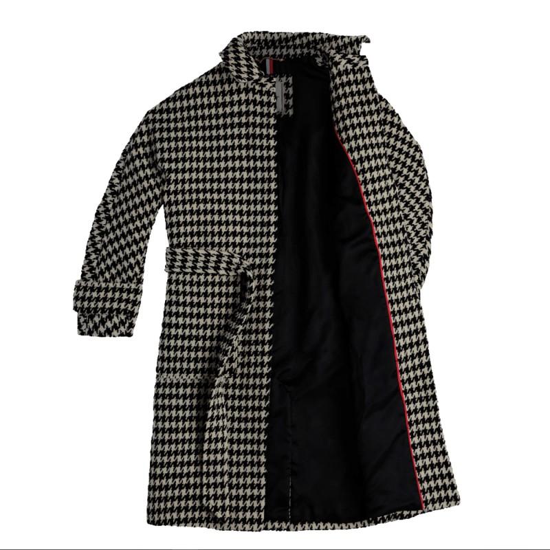 Tommy Hilfiger Coat Nico Visual Wool Blend-White/Black