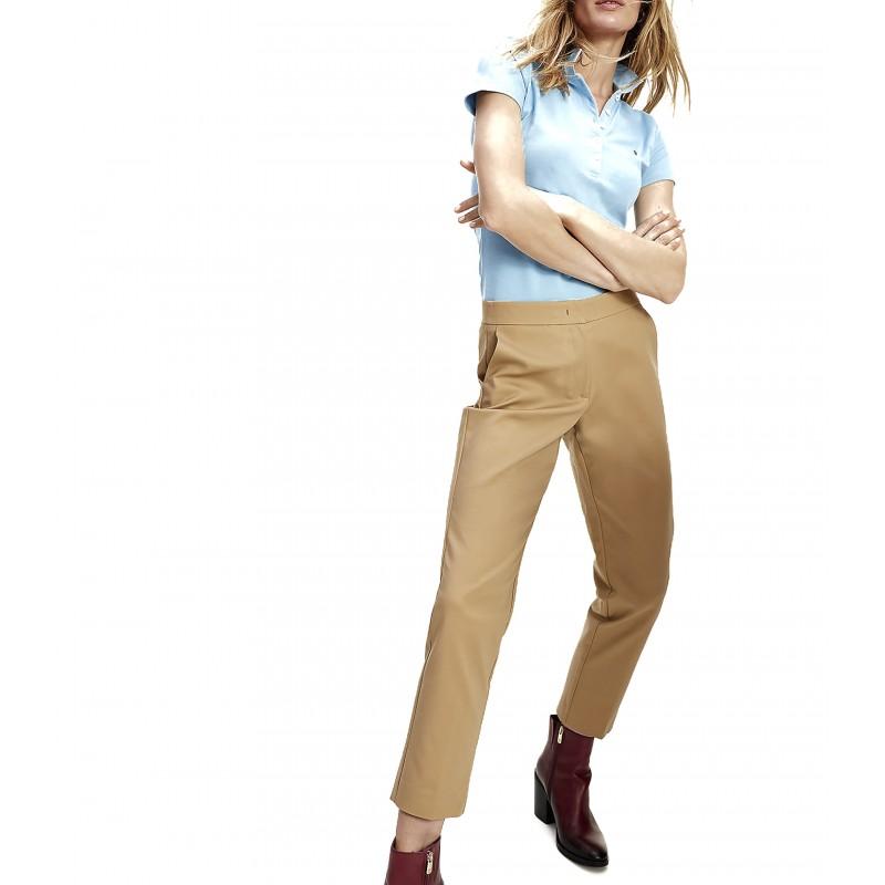 Tommy Hilfiger Pants Ankle Slim Slub Cotton-Classic Khaki