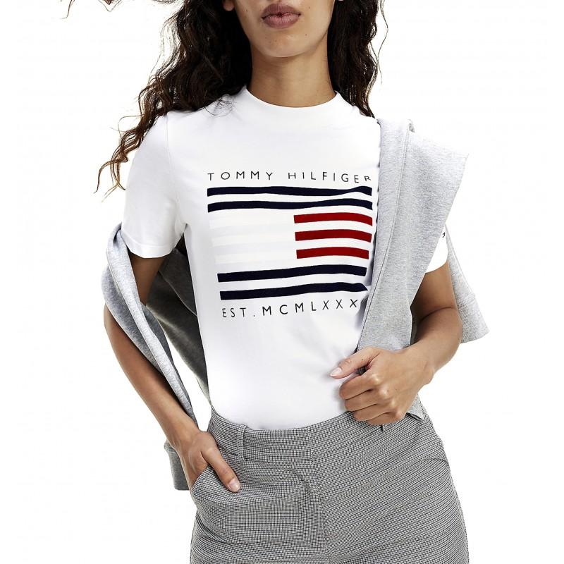 Tommy Hilfiger T-Shirt Regular C-NK Flock-White